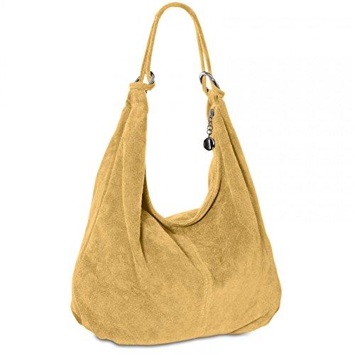 CASPAR TL617 Damen Vintage Veloursleder Tasche / Handtasche / Hobo Bag / Shopper, Farbe:camel (Hobo Leder-camel)