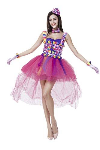 Damen Halloween Clown Kostüm ,Prinzessin Kleid, Hut und Halsband Mehrfarbig (Kostüme Kawaii Halloween)