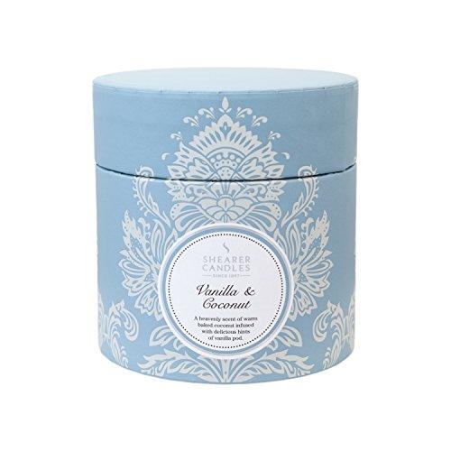 Shearer Candles Bougie parfumée Senteur Vanille et Noix de Coco Boîte Cadeau Bougie–Blanc