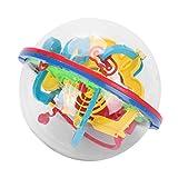 Boule Labyrinthe 3D Jeux Casse Tete Rond Parent-Enfant Jeu d'Action et d'Adresse Jouet Educatif Magical Intelligence 100 Barrières Labyrinthe Sphérique Maze Ball Puzzle Casse-tête en Plastique
