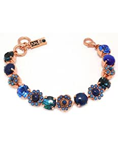 24K Rose Gold Plated Fabulous Bracelet from 'Third Eye Chakra' Collection by Amaro Jewelry Studio Amazingly Designed with Flower Shaped Elements, Set with Sodalite, Blue Onyx, Blue Abalone, Lapis Lazuli, Cat's Eye and Swarovski Crystal Accents