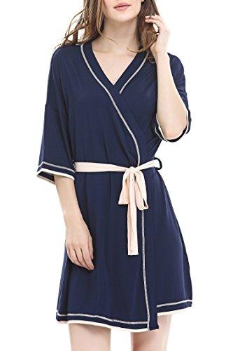 Preisvergleich Produktbild Damen Kimono Morgenmantel Tiefer V-Ausschnitt Schlafanzug mit Gürtel by NORA TWIPS(Blau,M)