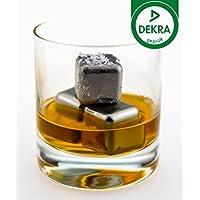 Senfine - Cubetti di ghiaccio in acciaio inox riutilizzabili per bevande liquide ~ 6 pezzi ~ – con sacchetto per la conservazione, Acciaio INOX, acciaio inox, Würfel