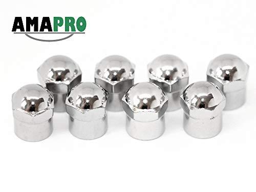 AMAPRO 8X Ventilkappen - Premium Reifenventilkappen - Elegante und Professionelle Ventilkappen im Chrom Look