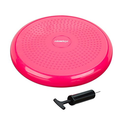 Relaxdays Balance Kissen 33 cm, Balance Pad mit Luftpumpe, Gleichgewichtskissen mit Noppen, Fitness Kissen, pink
