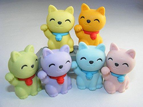 Iwako 6 Pastellfarben Glücklich Glück Katze japanischen Radiergummis aus Japan