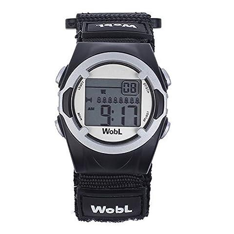 WobL Watch - Noir - montre de rappel 8 alarmes de vibration, aident à contrôler la transition du pot aux