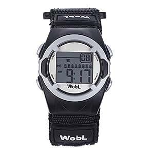 WobL Watch Nero - Orologio Bambino Sportivo Digitale con Cronometro Allarme Vibrazone per Ragazzi e Bambini, aiuta a scuola, aiuto promemoria, aiuto vasino