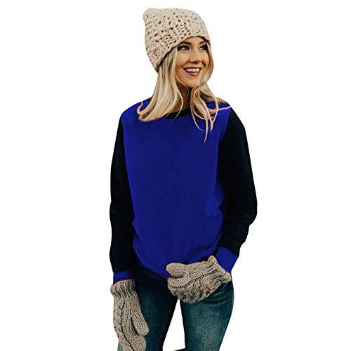 Geilisungren Damen Sweatshirt Casual Rundhals Pullover Elegant Langarmshirt Mode Kontrastfarbe Bluse Freizeit Kimono Frauen Baumwolle Shirt Cover up Outwear Oberteile