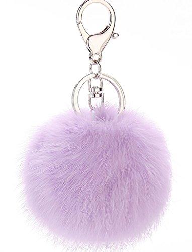 Bigood Weich Fellbommel 8cm Durchmesser Auto Anhänger Spiegel Schlüssel Anhänger Schlüsselring Schlüsselschilder Handtaschenanhänger Lila