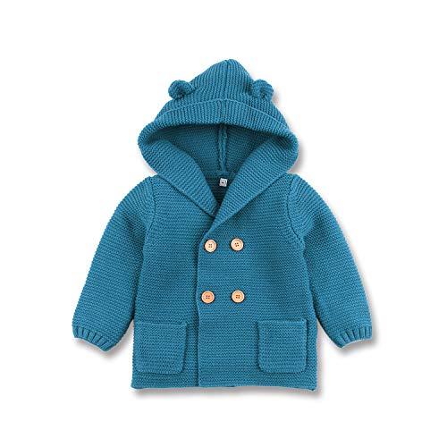 mimixiong Baby-Jungen Strickjacke Cardigan mit Kapuzenpullover Hoodie Sweatshirt(Blau,0-6 Monat) 3 Pullover Hoodies
