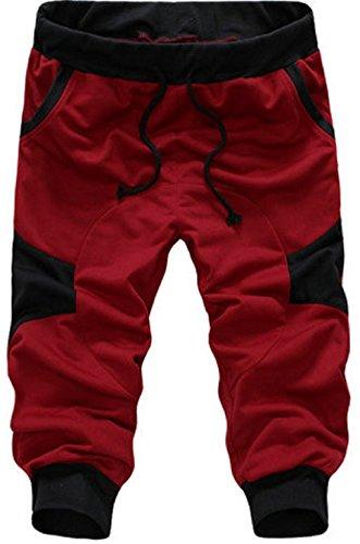 Men's Drawstring Loose Casual Shorts red