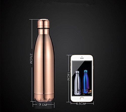 Sept Miracle Vakuum Thermosflasche Edelstahl Colorful Wasser Flasche auslaufsicher doppelwandig Sport Tassen (500ml) rose gold