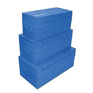 Cogex 62710 Malle en métal 3 pièces Bleu