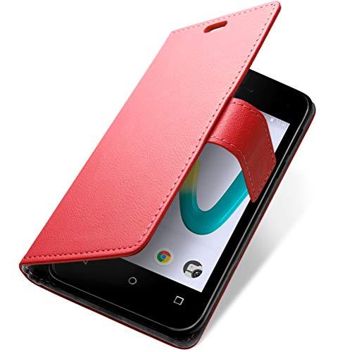 SLEO Hülle für Wiko Sunny 3 Mini, PU Leder Case Cover Tasche Schutzhülle Flip Case Wallet im Bookstyle für Wiko Sunny 3 Mini Hülle - Rot