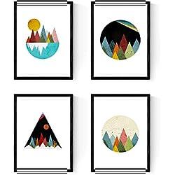 Set de 4 láminas para enmarcar, 4 Montañas geométricas. Producto de diseño. (A4)