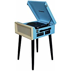 Steepletone Blue SRP1R 15 3 Speed Retro Vinyl Record Player 33,45,78 Turntable LATEST MODEL With Removable Legs So Can Be Used Freestanding or on Tabletop Complete With Built In Amplifier, Speakers and AM FM Radio (Blue/Cream), [Importado de Reino Unido]