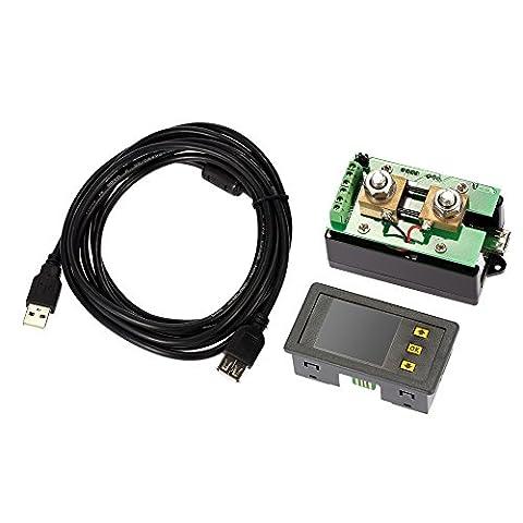 KKmoon DC 0.01-120V 0.1-100A Consommation d'Energie Digital Bidirectionnel en Ecran Couleur, Tester Courant / Voltage / Capacité / Quantité d'Electricité / Coulomb etc.