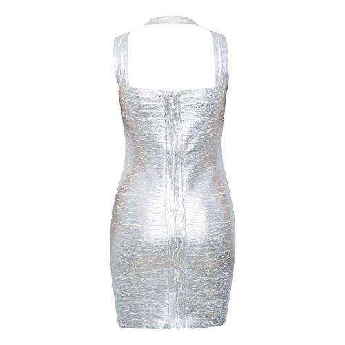 HLBandage Women's Sexy Metallic Sleeveless Halter Bodycon Bandage Dress Argenté