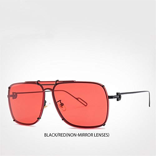 GGreenary Top Ice Blue Mirror Sonnenbrille Shades Square Sonnenbrille (Lenses Color : Red Non-Mirror Lens)