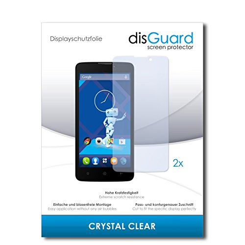 disGuard® Bildschirmschutzfolie [Crystal Clear] kompatibel mit Haier Phone L52 [2 Stück] Kristallklar, Transparent, Unsichtbar, Extrem Kratzfest, Anti-Fingerabdruck - Panzerglas Folie, Schutzfolie