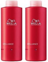 Wella Professionals Brilliance Duo couleur Shampoing 1000 ml et après-shampoing 1000 ml pour cheveux rêches/épais