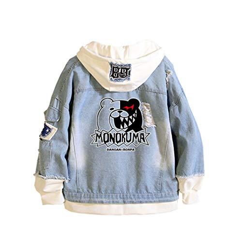 Cosstars Danganronpa Monokuma Anime Chaquetas de Mezclilla Denim Jacket Adulto Cosplay Jeans Hoodie Sudaderas Cárdigan Azul 1 M