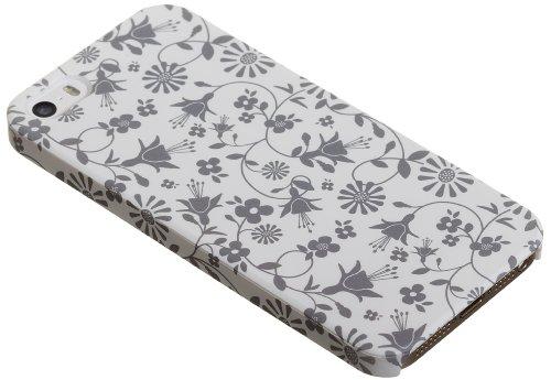 Caseit Slimline Hülle Case Cover für iPhone 5/5S/SE Elegant mit Blumen-Design - Weiß mit Blumenmuster Weiß mit Blumenmuster