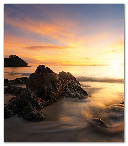 Wallario Herdabdeckplatte/Spritzschutz aus Glas, 1-teilig, 52x60cm, für Ceran- und Induktionsherde, Sonne über dem Meer mit Felsenlandschaft