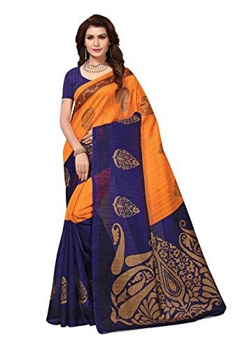KSH Trendz Women's Mysore Silk Saree With Blouse (KSH SHRUTI NAVY_Multi-coloured_Free Size)
