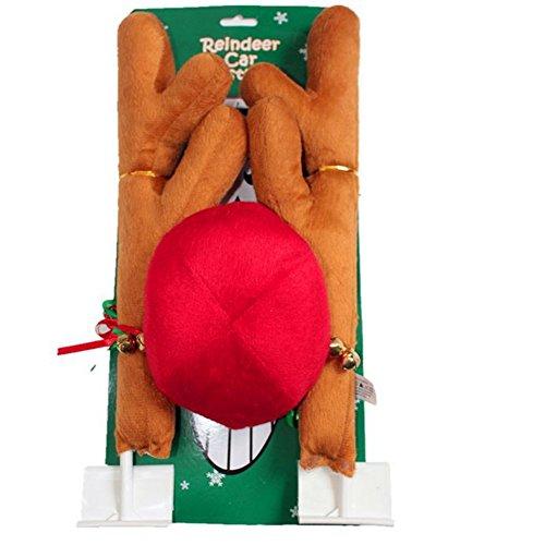 XuBa Stilvolle Weihnachtselche Geweih Form Verzierung mit roter Nase für Auto LKW SUV Van Rudolph Kostüm ein