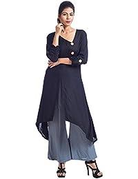 Mamosa Designer Black Rayon Asymetric Front Slit Kurti/Kurta With Rayon Grey Palazzo Pant Set For Womens, Ladies...
