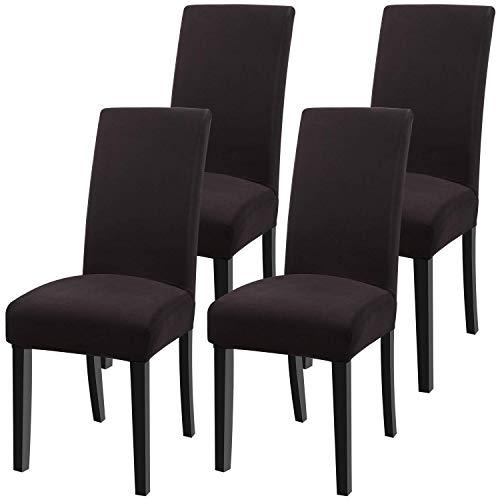 YISUN Universal Stretch Stuhlhussen 4er 6er Set Stuhlbezug für Stuhl Esszimmer (4er Set, Pures Kaffee)