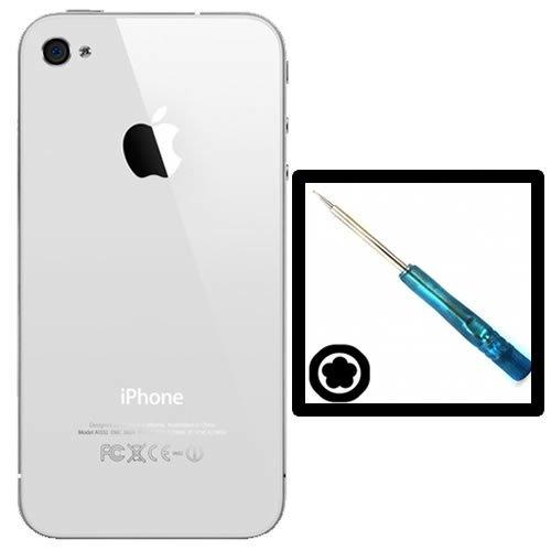 Coque arrière de remplacement vitre iPhone 4s Blanc (Livré avec tournevis Torx) ((Le motif ou une image sur la couverture arrière est un film protecteur. Celle-ci doit être enlevée avant d'installer))