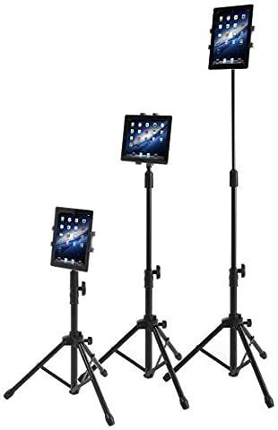 Raking Floor Trépied et support pour tablettes - iPad, iPad Mini, et téléphones de 7 à 10 pouces. Rotatif à 360 °. Mallette de transport incluse