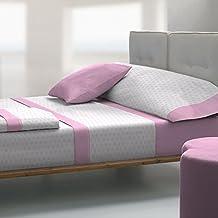 Tolrà T0940 - Juego de sabanas 3 piezas de franela 100% algodón para cama de 105, color rosa