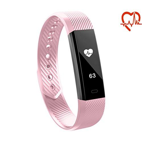 Toksum® Alfa HR® Slim Herzfrequenzmesser Fitness Tracker Smart Wristband | Wearable Touch Screen Activity Tracker Schrittzähler Uhrenarmband mit Schlaf-Monitor | Für Kinder, Frauen und Männer | Für iPhone & Android (Bluetooth Nähe Alarm)
