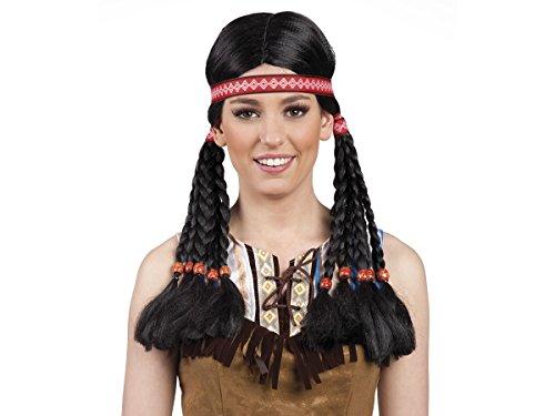 Parrucca da donna indiana | 86415 | lunga nera trecce | taglia unica | adulti | travestimento | costume | halloween | carnevale | festa serata a tema