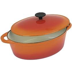 Crealys 501602 Cocotte Ovale Orange Flamme 9 L