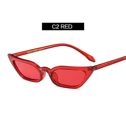 MOJINGYAN Sonnenbrillen,Frauen Retro Cat Eye Sonnenbrille Gelb Lila Kontaktlinsen Sonnenbrille Designer Brille Für Weibliche Uv400 Rot (Designer, Kontaktlinsen)