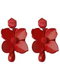 f5660637d310 Alpha HJTY Pendientes Europa y Estados Unidos Nuevos Pendientes de flores  con pintura metálica
