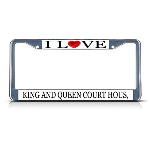 Nummernschild Rahmen I LOVE Herz König und Königin Court Hous VA Aluminium Metall Nummernschild Rahmen silber -