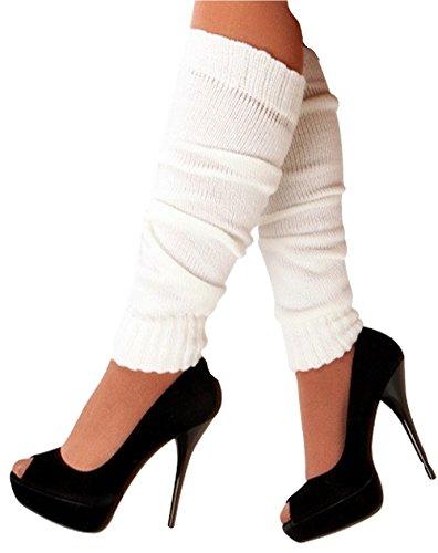 krautwear® Damen Beinwärmer Stulpen Legwarmers Overknees gestrickte Strümpfe 80er Jahre 1980er Jahre (weiss) (Arm-stulpen Weiße)