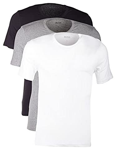 Hugo Boss 3er Pack O Neck M 999 Rundhals Ausschnitt T Shirts weiss graumeliert schwarz
