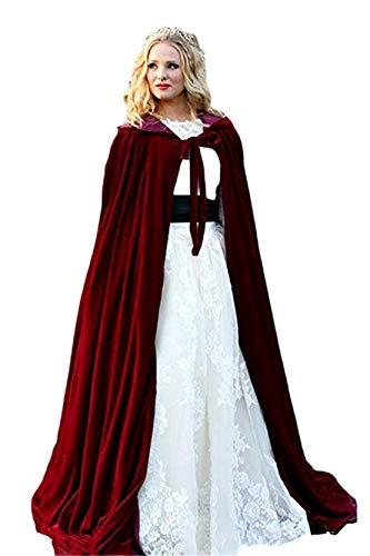 ShineGown Damen Kapuzen Braut Cape Samt Lange Hochzeit Wraps Bride Mantel Jacke Weihnachten Mäntel Halloween Kap Fluwelen Wicca Robe Vampir Schal Cosplay Partei Heks Kostüm (Vampir Cosplay)