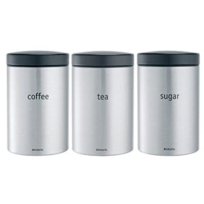 Brabantia Tea, Coffee and Sugar Canisters, Black Lid, 1.4 L - Brilliant Steel, 3 Pieces