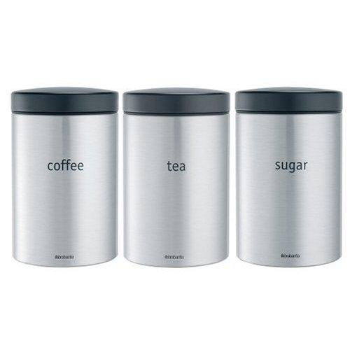 Brabantia 314926 Barattolo per tè/caffè/Zucchero, 1.4 l, Inox Satinato FPP