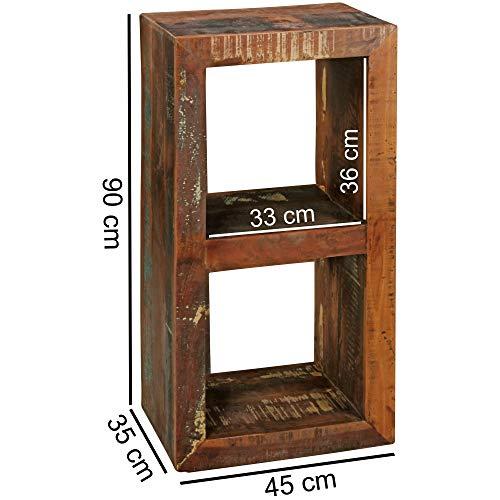 KS-Furniture Bücherregal Kalkutta 45 x 35 x 90 cm   Massivholz Regal mit 2 Ebenen   Cube Beistelltisch Wohnzimmer   Standregal Shabby-Chic
