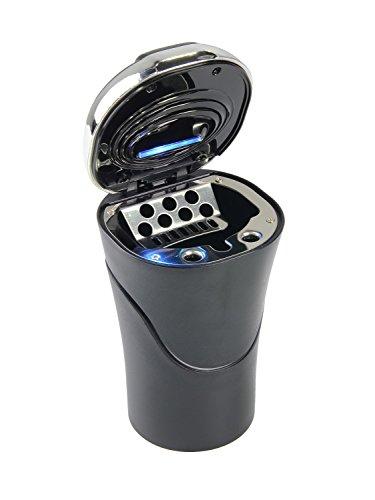Preisvergleich Produktbild DEBAIJIA Auto Aschenbecher Solar-Ladegerät LED Beleuchtet mit Deckel Schwarz/Silber 13*8*6.4cm