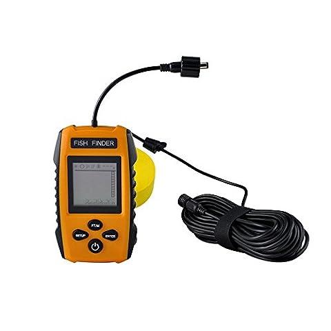 Szjsl Nouveau détecteur de poisson portatif, détecteur de poisson sous-marin, Fishfinder Tackle Fishes avec transducteur de sonde à fil et LCD Dispaly Détecteurs de profondeur pour la